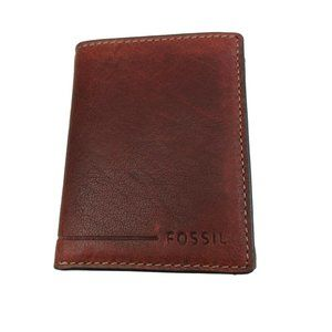 Fossil Allen Trifold RFID Tan Brown Leather Wallet